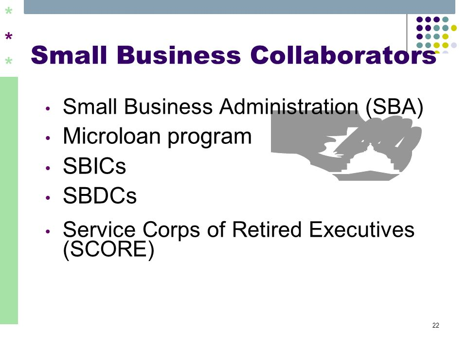 ****** 22 Small Business Collaborators Small Business Administration (SBA) Microloan program SBICs SBDCs Service Corps of Retired Executives (SCORE)