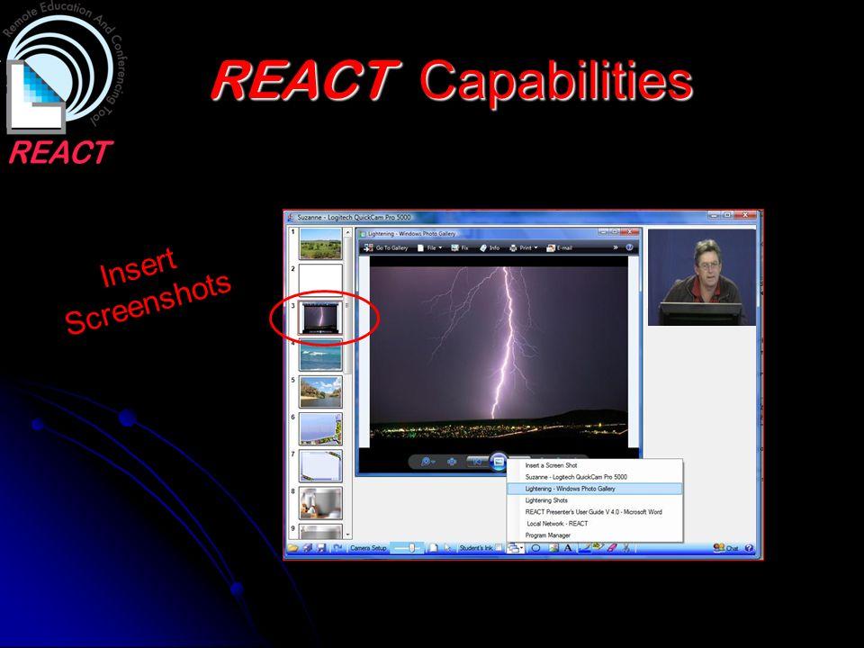 REACT Capabilities Insert Screenshots
