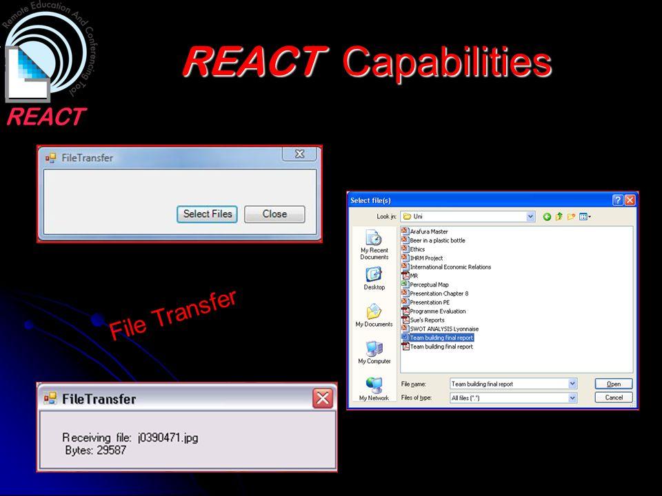 REACT Capabilities File Transfer
