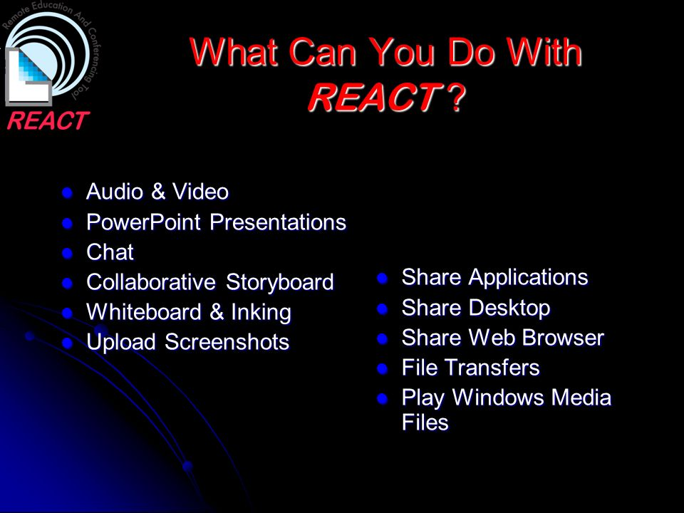 What Can You Do With REACT ? Audio & Video Audio & Video PowerPoint Presentations PowerPoint Presentations Chat Chat Collaborative Storyboard Collabor