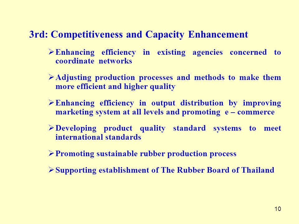 10 3rd: Competitiveness and Capacity Enhancement Enhancing efficiency in existing agencies concerned to coordinate networks Adjusting production proce