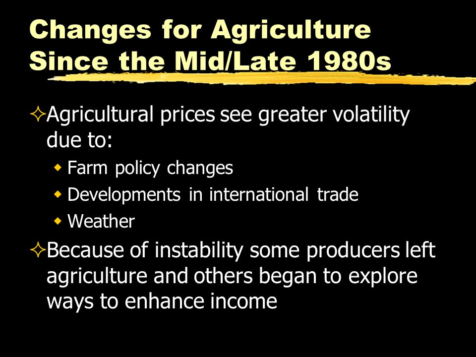 Changes for Agriculture Since the Mid/Late 1980s Agricultural prices see greater volatility due to: Farm policy changes Developments in international
