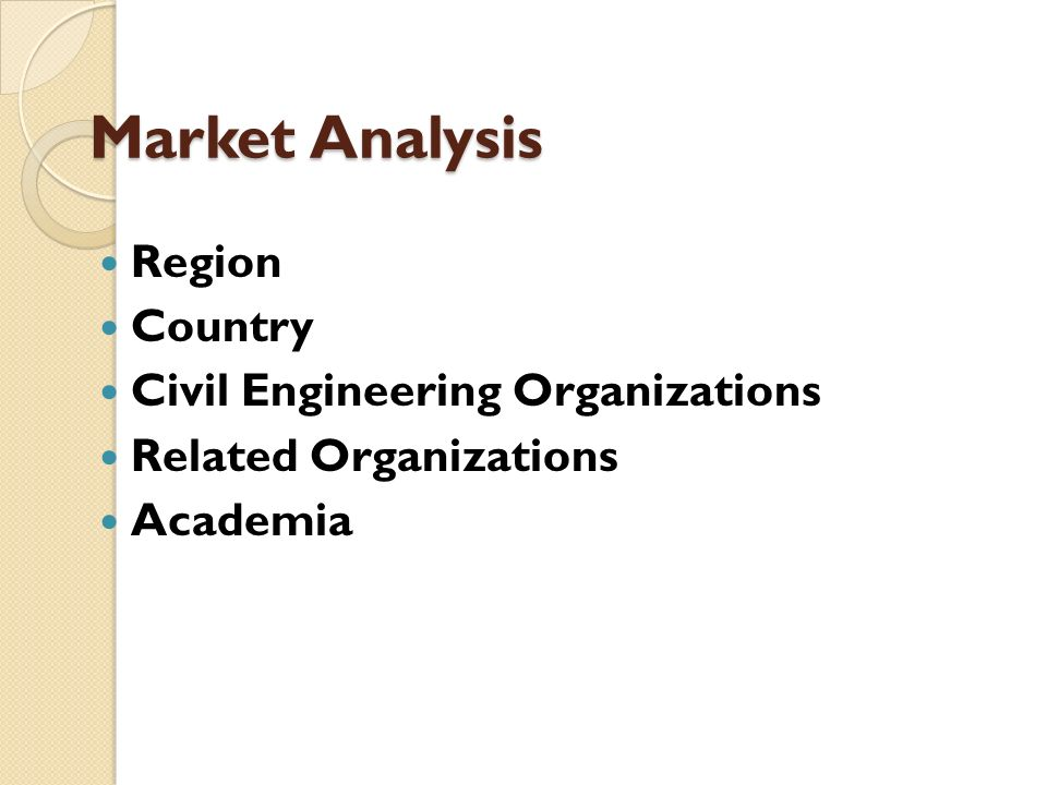 Market Analysis Region Country Civil Engineering Organizations Related Organizations Academia