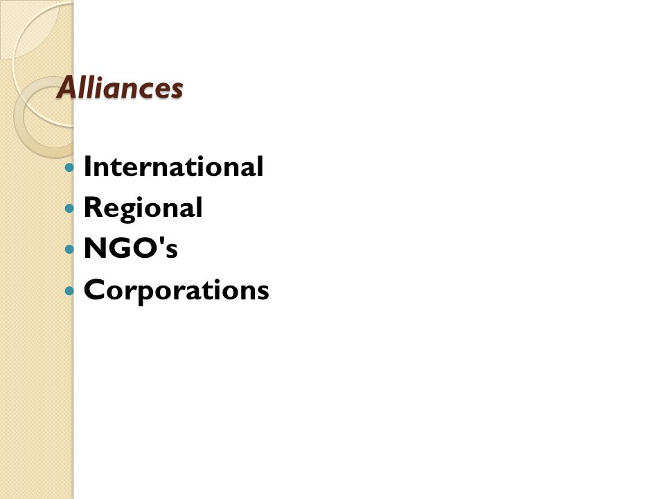 Alliances International Regional NGO's Corporations