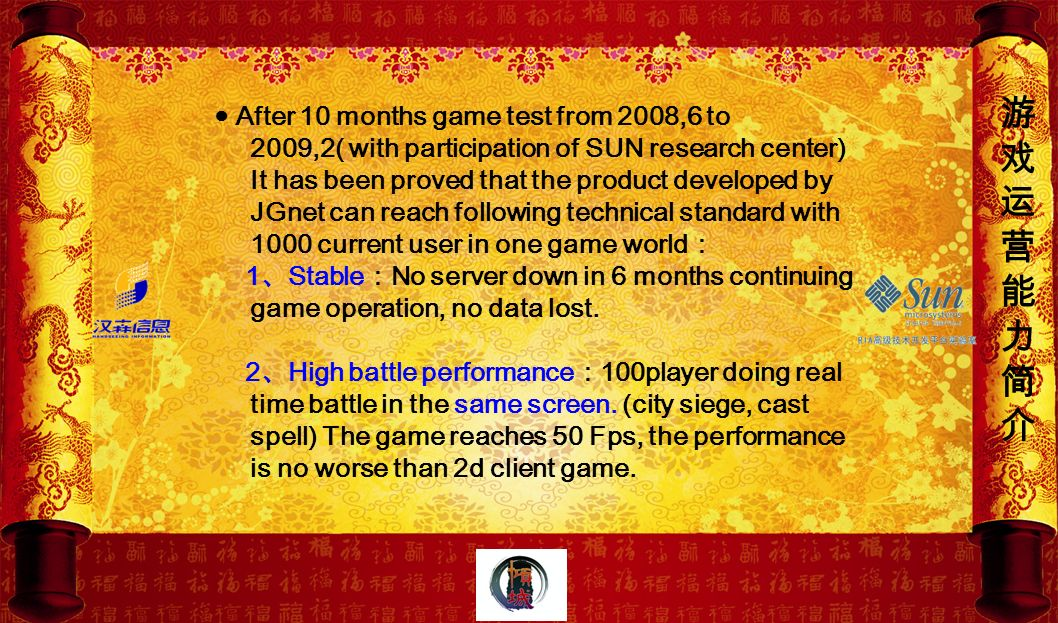 After 10 months game test from 2008,6 to 2009,2( with participation of SUN research center) It has been proved that the product developed by JGnet can