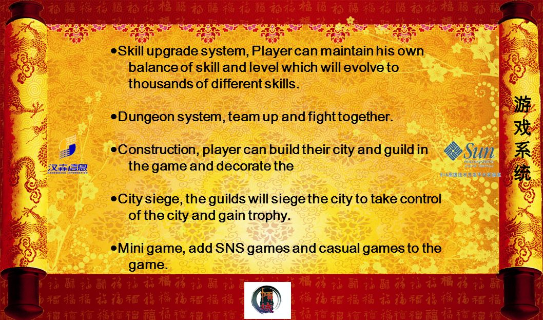 Skill upgrade system, Player can maintain his own balance of skill and level which will evolve to thousands of different skills. Dungeon system, team