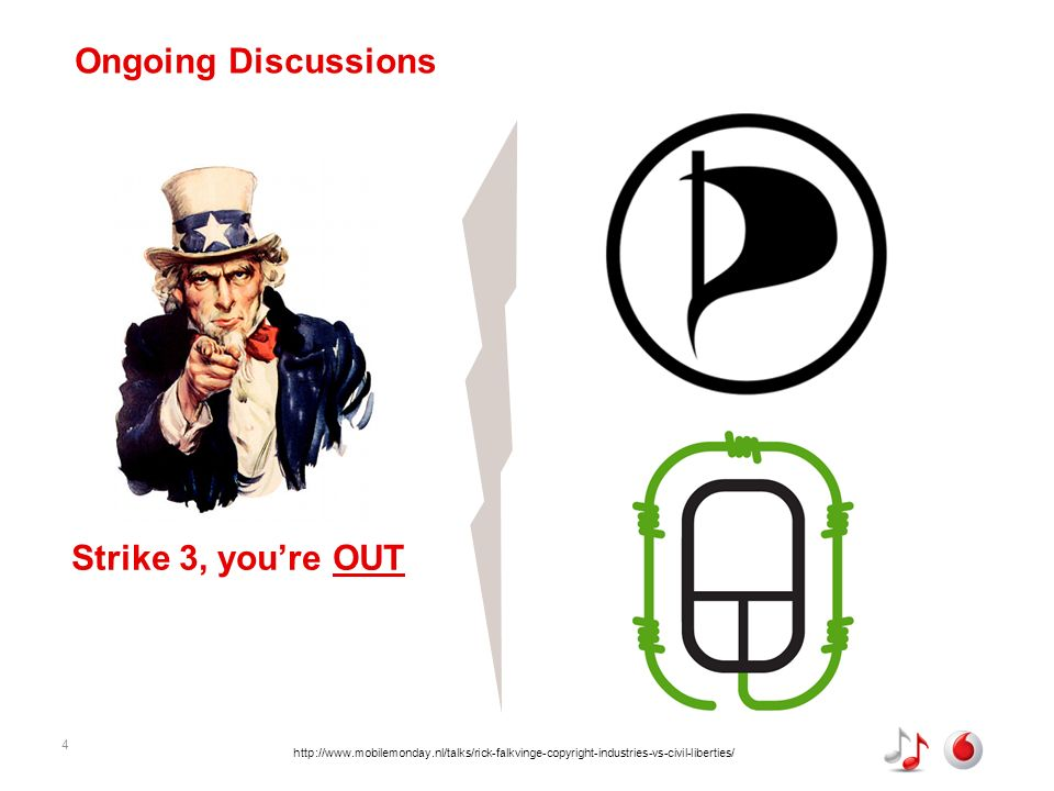 4 Ongoing Discussions Strike 3, youre OUT http://www.mobilemonday.nl/talks/rick-falkvinge-copyright-industries-vs-civil-liberties/