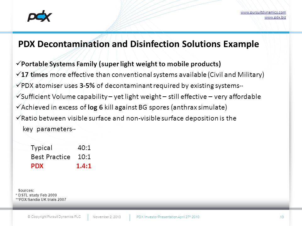 © Copyright Pursuit Dynamics PLC November 2, 201313 PDX Decontamination and Disinfection Solutions Example Portable Systems Family (super light weight