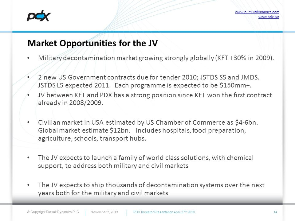 © Copyright Pursuit Dynamics PLC Market Opportunities for the JV Military decontamination market growing strongly globally (KFT +30% in 2009). 2 new U