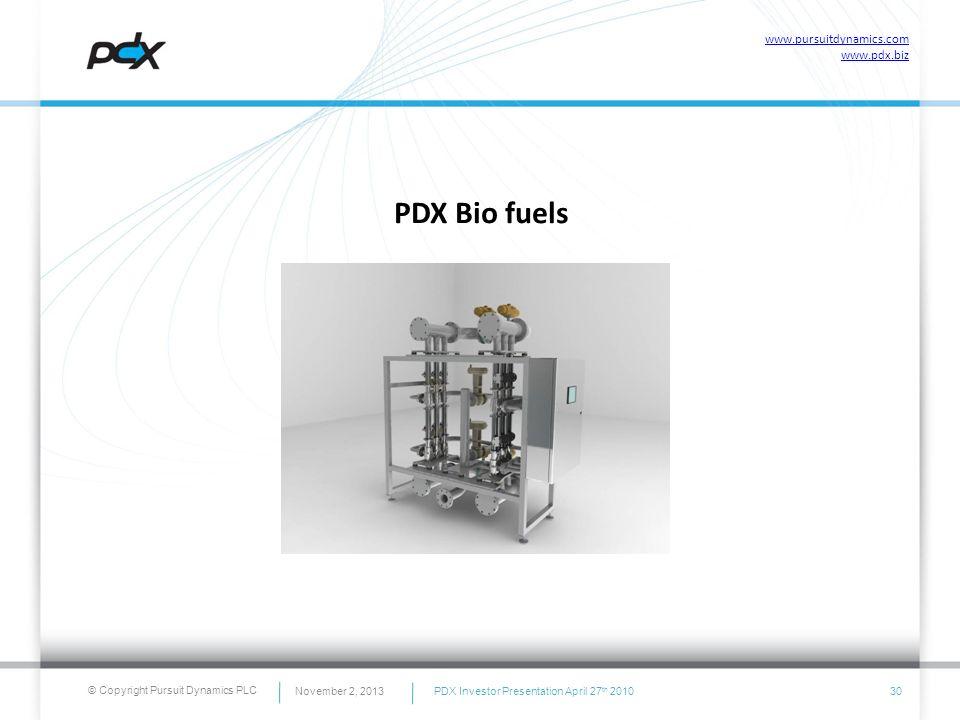 © Copyright Pursuit Dynamics PLC PDX Bio fuels 30November 2, 2013 www.pursuitdynamics.com www.pdx.biz PDX Investor Presentation April 27 th 2010