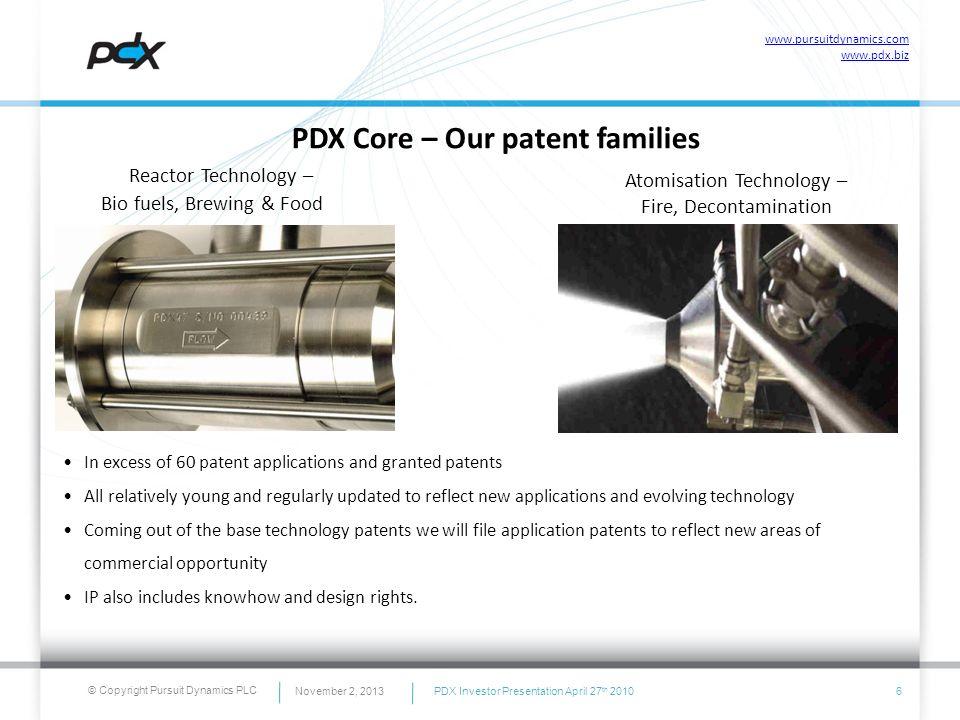 © Copyright Pursuit Dynamics PLC PDX Core – Our patent families Reactor Technology – Bio fuels, Brewing & Food Atomisation Technology – Fire, Decontam