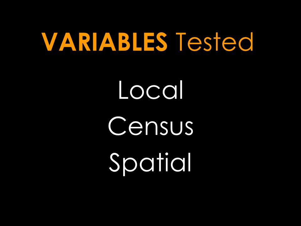 VARIABLES Tested Local Census Spatial