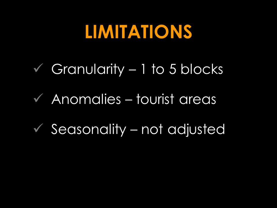 LIMITATIONS Granularity – 1 to 5 blocks Anomalies – tourist areas Seasonality – not adjusted