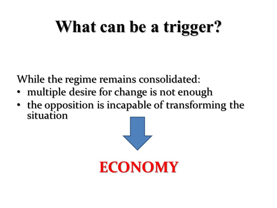 What can be a trigger? While the regime remains consolidated: multiple desire for change is not enough multiple desire for change is not enough the op