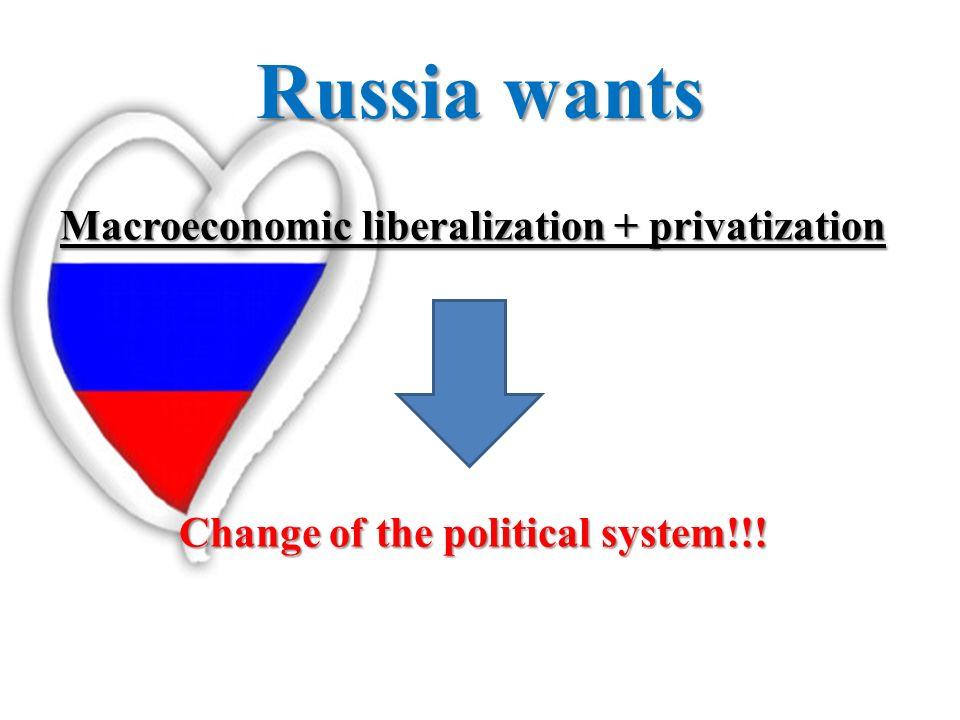 Russia wants Macroeconomic liberalization + privatization Change of the political system!!!