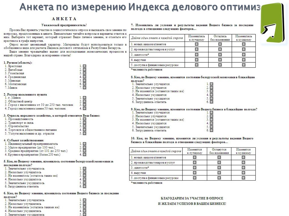 Анкета по измерению Индекса делового оптимизма