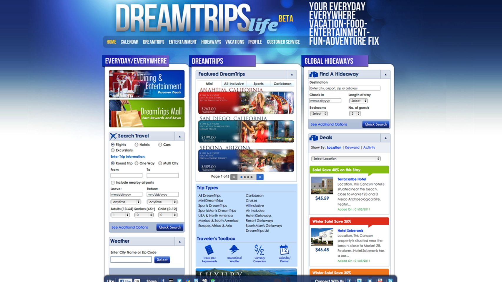 ©2011 WorldVentures Marketing, LLC DreamTrips Life Screen Shot 1