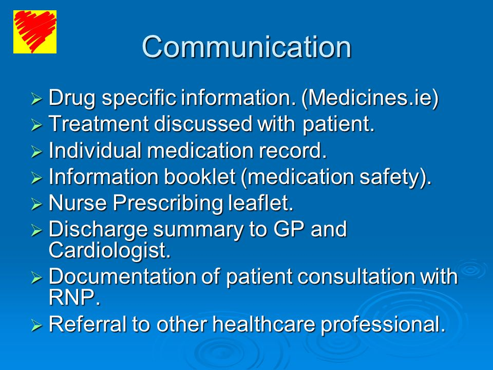 Communication Drug specific information. (Medicines.ie) Drug specific information. (Medicines.ie) Treatment discussed with patient. Treatment discusse