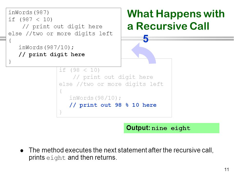 11 Output: nine eight What Happens with a Recursive Call The method executes the next statement after the recursive call, prints eight and then return