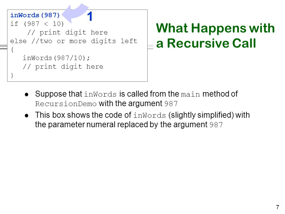 7 What Happens with a Recursive Call Suppose that inWords is called from the main method of RecursionDemo with the argument 987 This box shows the cod