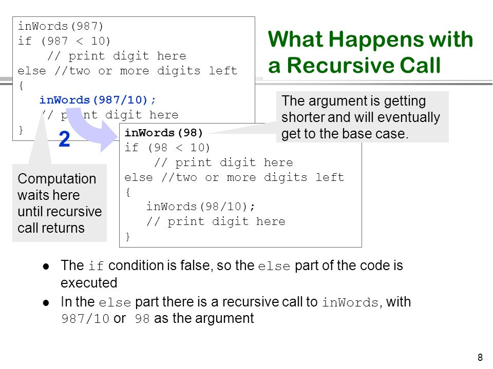 8 What Happens with a Recursive Call The if condition is false, so the else part of the code is executed In the else part there is a recursive call to