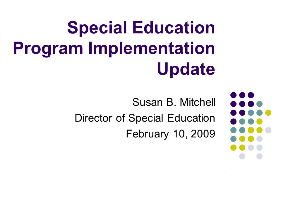 Program & Efficiency Next Steps: 2009-2010 Build the infrastructure of existing programs 2009-2010 to 2010-2011 Expansion of existing programs Counseling Enriched Classes Intensive needs autism high school class 2009-2010 to 2011-2012 Develop new district programs Center-Based early intervention program Expansion of services for 18-22 year olds