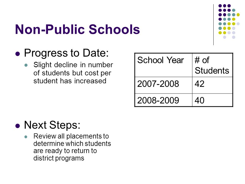Non-Public Schools Progress to Date: Slight decline in number of students but cost per student has increased Next Steps: Review all placements to dete