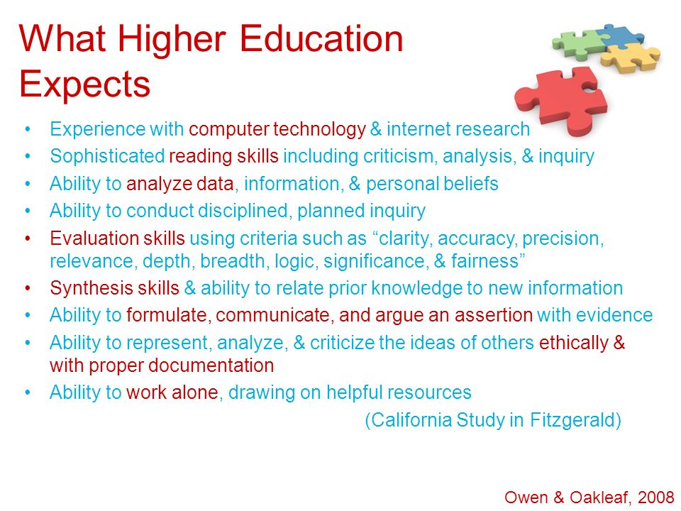 What Higher Education Expects Experience with computer technology & internet research Sophisticated reading skills including criticism, analysis, & in