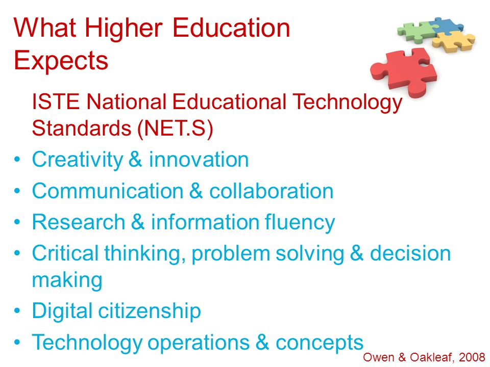 What Higher Education Expects ISTE National Educational Technology Standards (NET.S) Creativity & innovation Communication & collaboration Research &