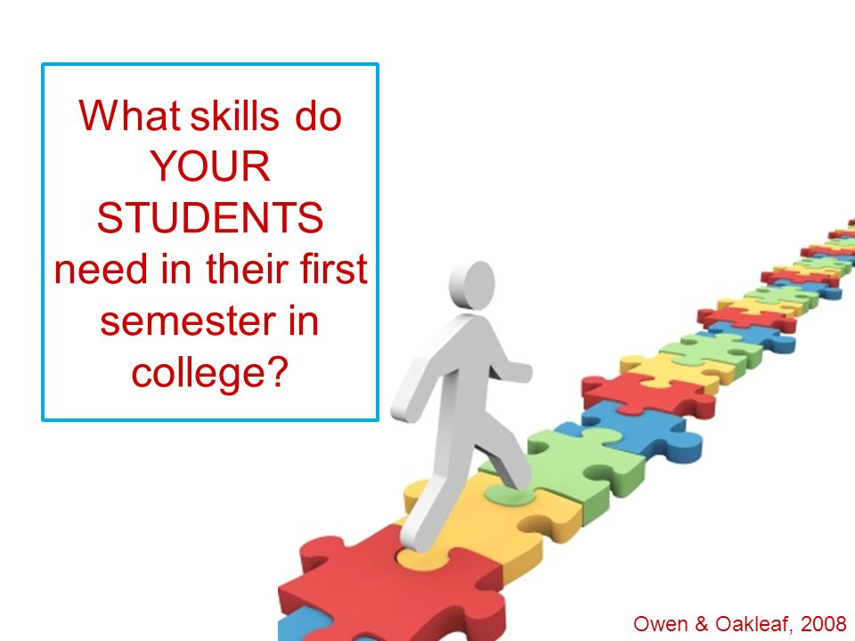 What skills do YOUR STUDENTS need in their first semester in college? Owen & Oakleaf, 2008