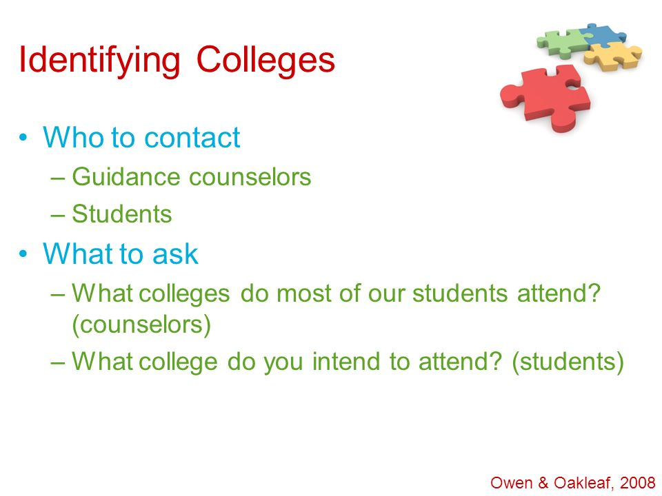 Identifying Colleges Who to contact –Guidance counselors –Students What to ask –What colleges do most of our students attend? (counselors) –What colle