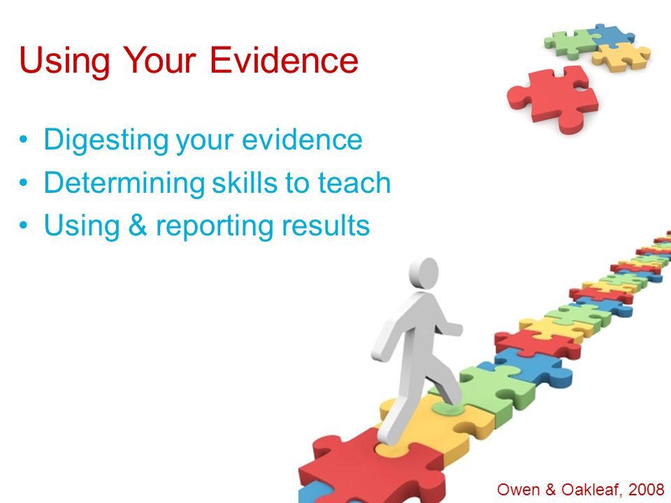 Using Your Evidence Digesting your evidence Determining skills to teach Using & reporting results Owen & Oakleaf, 2008