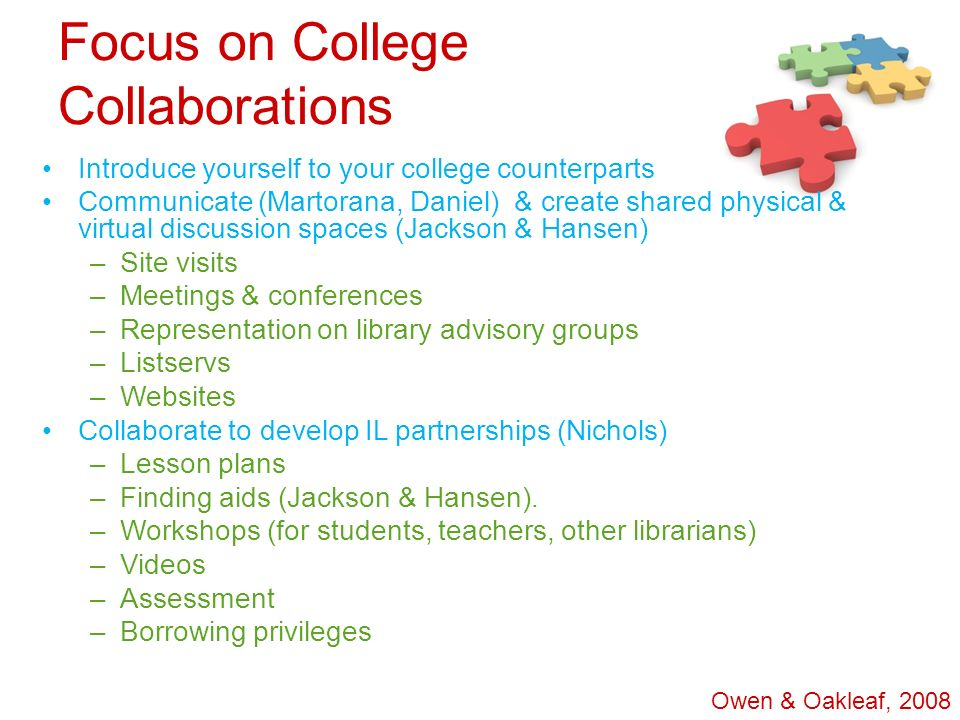 Focus on College Collaborations Introduce yourself to your college counterparts Communicate (Martorana, Daniel) & create shared physical & virtual dis