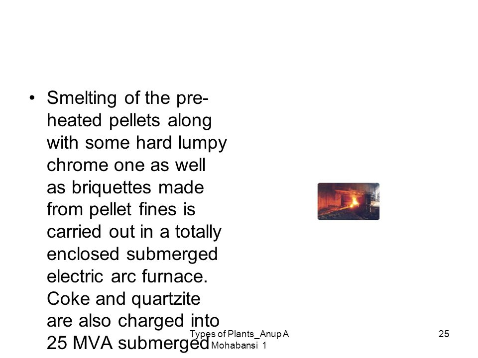 Types of Plants_Anup A Mohabansi 1 25 Smelting of the pre- heated pellets along with some hard lumpy chrome one as well as briquettes made from pellet