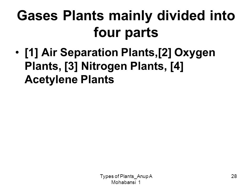 Types of Plants_Anup A Mohabansi 1 28 Gases Plants mainly divided into four parts [1] Air Separation Plants,[2] Oxygen Plants, [3] Nitrogen Plants, [4