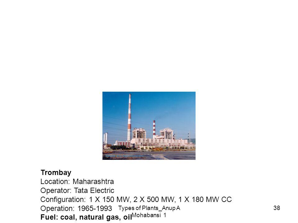 Types of Plants_Anup A Mohabansi 1 38 Trombay Location: Maharashtra Operator: Tata Electric Configuration: 1 X 150 MW, 2 X 500 MW, 1 X 180 MW CC Opera