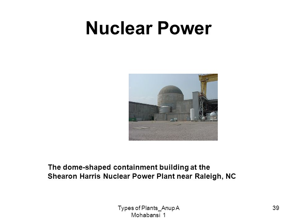 Types of Plants_Anup A Mohabansi 1 39 Nuclear Power The dome-shaped containment building at the Shearon Harris Nuclear Power Plant near Raleigh, NC