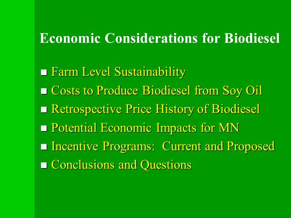 Economic Considerations for Biodiesel Farm Level Sustainability Farm Level Sustainability Costs to Produce Biodiesel from Soy Oil Costs to Produce Bio