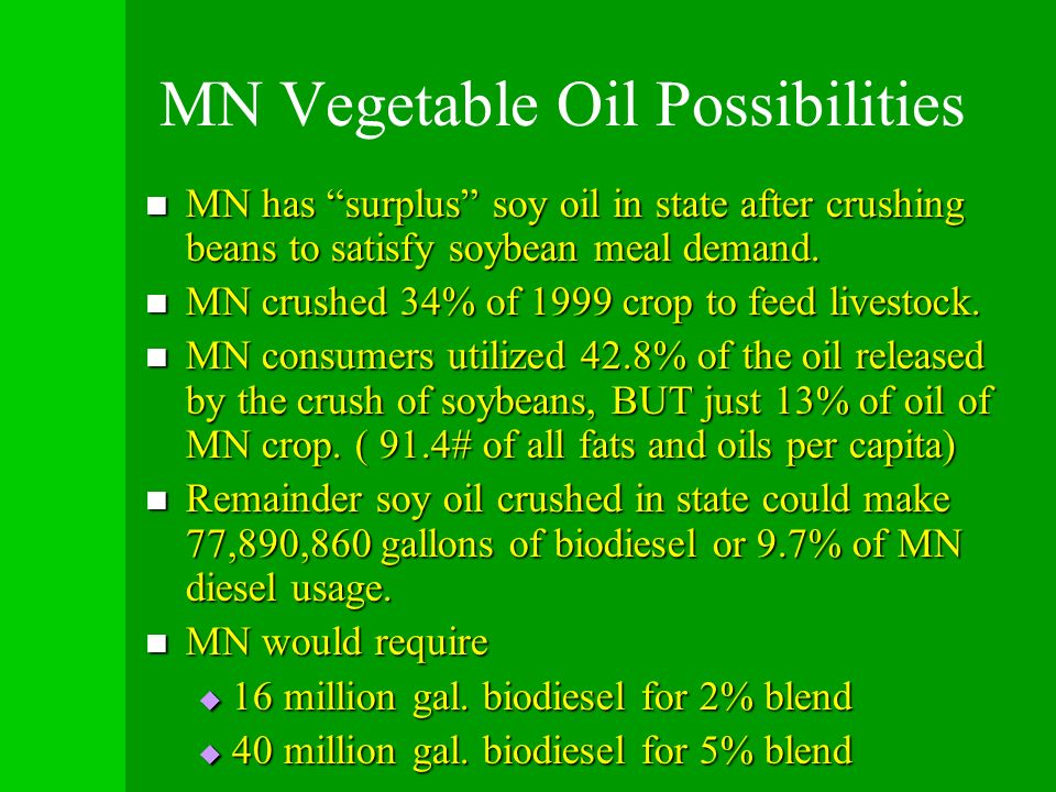 MN Vegetable Oil Possibilities MN has surplus soy oil in state after crushing beans to satisfy soybean meal demand. MN has surplus soy oil in state af