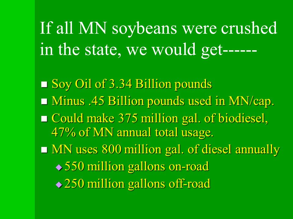 If all MN soybeans were crushed in the state, we would get------ Soy Oil of 3.34 Billion pounds Soy Oil of 3.34 Billion pounds Minus.45 Billion pounds