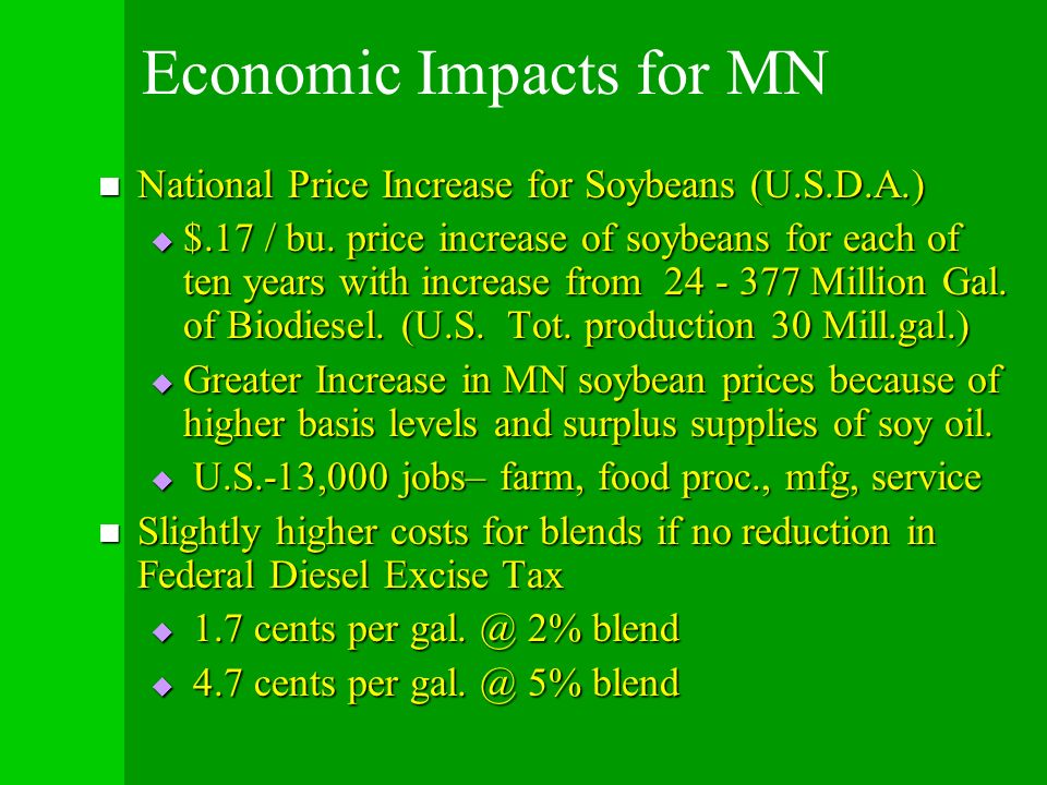 Economic Impacts for MN National Price Increase for Soybeans (U.S.D.A.) National Price Increase for Soybeans (U.S.D.A.) $.17 / bu. price increase of s