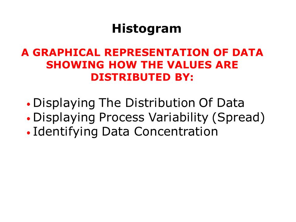 Histogram A GRAPHICAL REPRESENTATION OF DATA SHOWING HOW THE VALUES ARE DISTRIBUTED BY: Displaying The Distribution Of Data Displaying Process Variability (Spread) Identifying Data Concentration