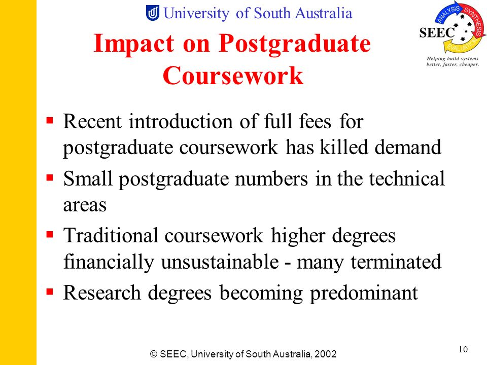 University of South Australia © SEEC, University of South Australia, 2002 9 Economic Environment Undergraduate No up-front fees for students Higher Ed