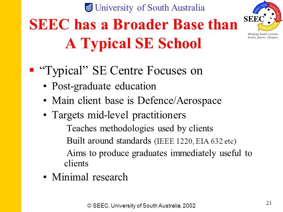 University of South Australia © SEEC, University of South Australia, 2002 20 SEEC is Significant 15 Academic staff plus 13 adjuncts 60 post-graduate s