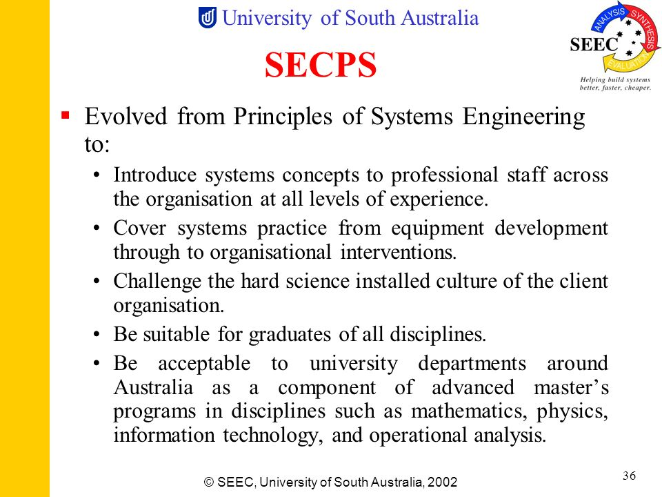 University of South Australia © SEEC, University of South Australia, 2002 35 Example SE Syllabus Group A (Mandatory Core Subjects – Grad Cert) Systems
