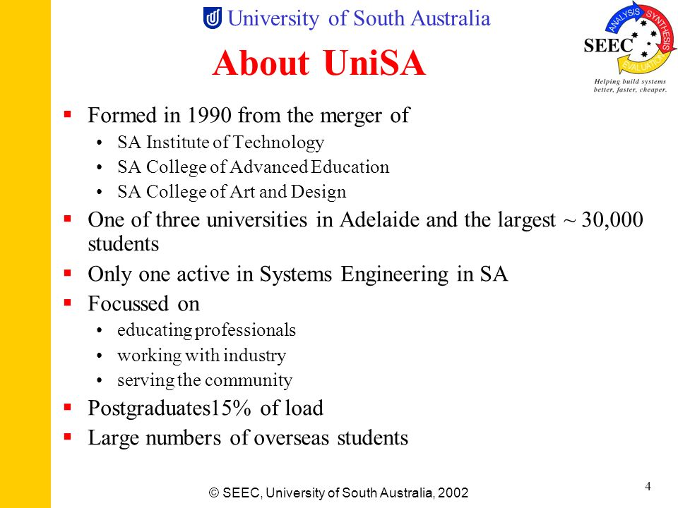 University of South Australia © SEEC, University of South Australia, 2002 3 The Australian Postgraduate Educational Scene Mass university education (3