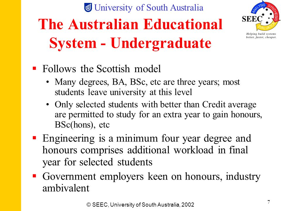 University of South Australia © SEEC, University of South Australia, 2002 6 A Long Way from the Nearest Large City (750 km) University of SA Most stud