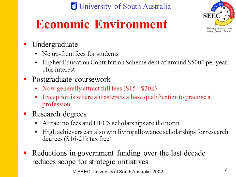 University of South Australia © SEEC, University of South Australia, 2002 8 The Australian Educational System - Postgraduate Grad Cert (6 months cours