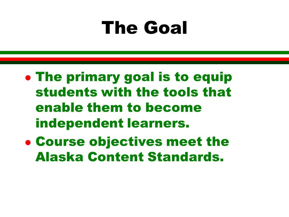 The Goal l The primary goal is to equip students with the tools that enable them to become independent learners.