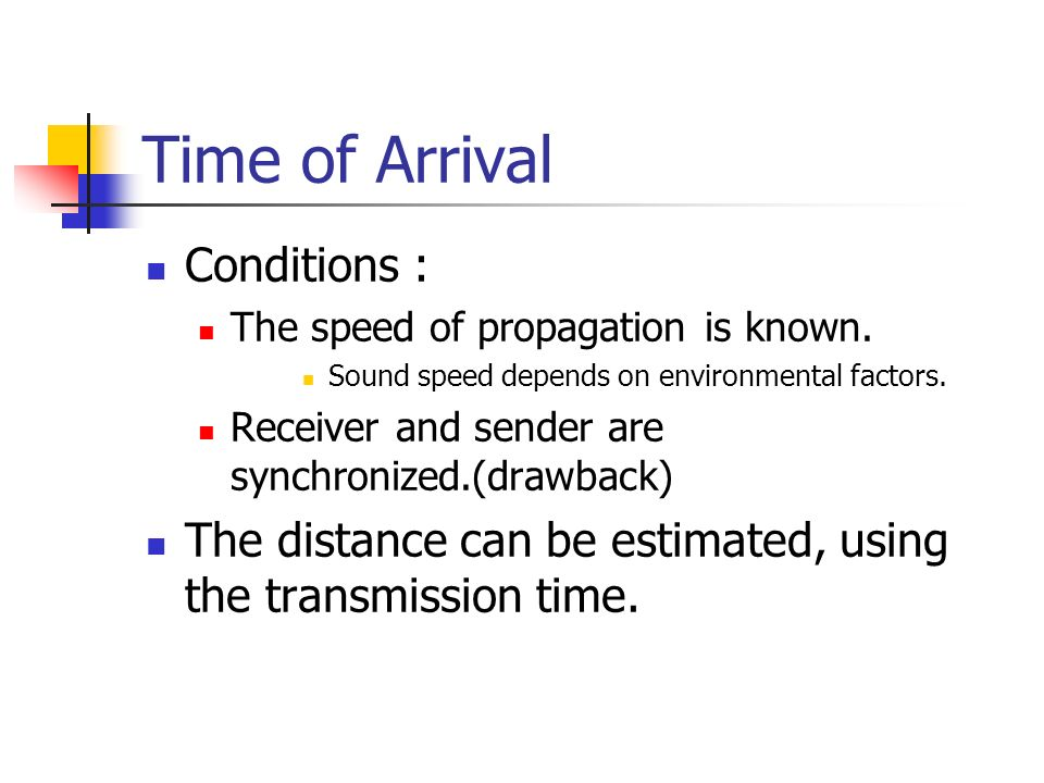 Time of Arrival Conditions : The speed of propagation is known. Sound speed depends on environmental factors. Receiver and sender are synchronized.(dr